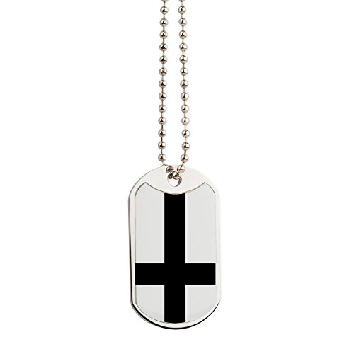 (CafePress - Upside Down Cross - Military Style Dog Tag, Stainless Steel with Chain)