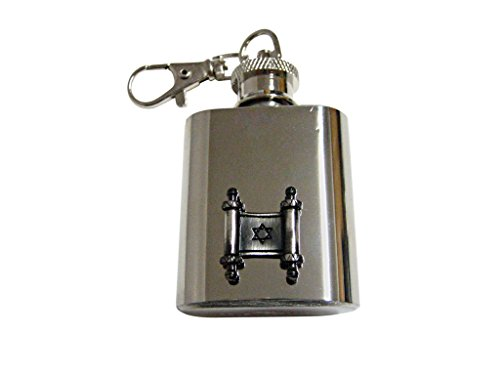 (Torah Religious Scroll Pendant 1 Oz. Stainless Steel Key Chain Flask )