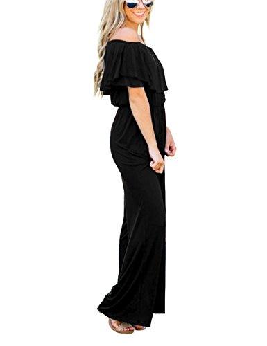 Lookbook Store Women's Sexy Off Shoulder High Waisted Ruffled Long Wide Leg Pants Black Jumpsuits Rompers Size L by Lookbook Store (Image #2)