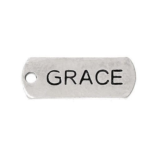 Packet of 5 x Antique Silver Tibetan 21mm Charms Pendants (Grace) - (ZX12595) - Charming (Grace Antique)