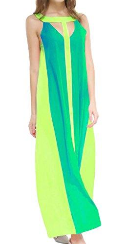 Verde Canotta Cromoncent Maxi Di Giunzione Oscillare Contrasto Vestito Senza Maniche Di Colore Chiffon Donne BZqfwR