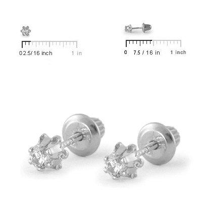 Girl's Jewelry - 14K White Gold 0.14 CTW Diamond Screw Back Earring Studs by Loveivy (Image #2)
