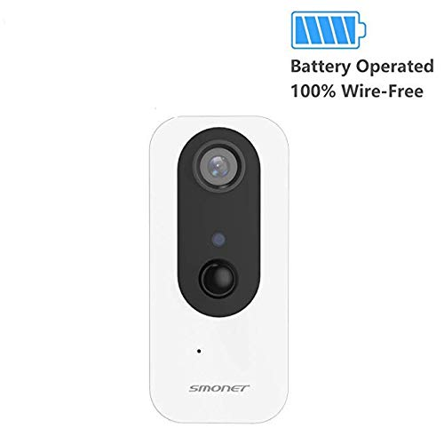 Security Camera Wireless, SMONET Battery Operated Wire-Free IP Camera with Two-Way Audio, IR Night Vision, PIR Alarm, HD 1080P Indoor Surveillance Camera for Baby/Pet, Support Micro SD Card by SMONET