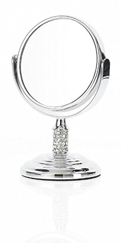 Danielle Mini Crystal Studded Stem Mirror with True Image & 4x Magnification, Chrome