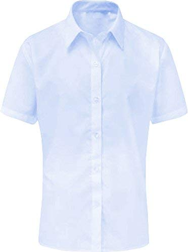 Only Global Girls Short Sleeve Blouse Shirt Twin Pack School Uniform White Sky Blue ***UK Only Global®