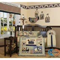 13 Piece Crib Bedding Set, Baby Boy Constructor