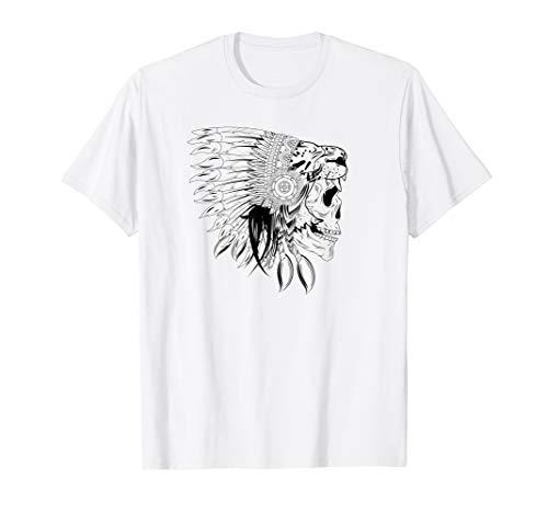 Native American Lion Skull T-Shirt Indian Headdress War Tee T-Shirt