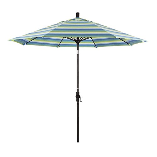 Cheap California Umbrella 9′ Round Aluminum Pole Fiberglass Rib Market Umbrella, Crank Lift, Collar Tilt, White Pole, Sunbrella Canvas