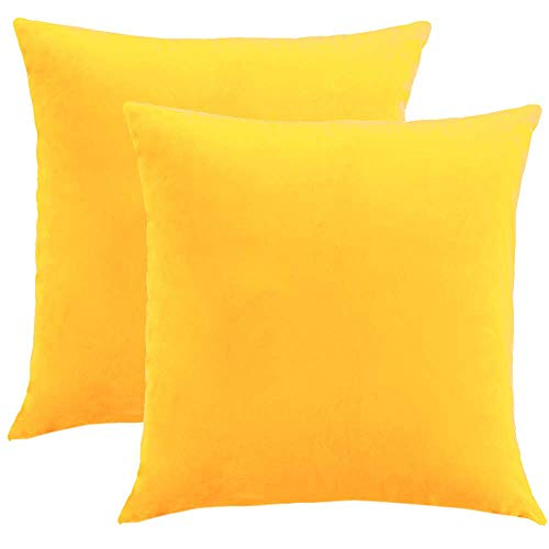 WLNUI Set of 2 Soft Velvet Solid Gold Yellow Decorative Square Throw Pillow Covers Set Cushion Case for Sofa Couch Home Decor 20x20 Inch 50x50 - Gold Solid Insert