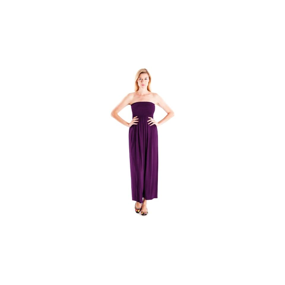 Clothes Effect Purple Ladies Strapless Long Flowing Maxi Dress Smocking Top