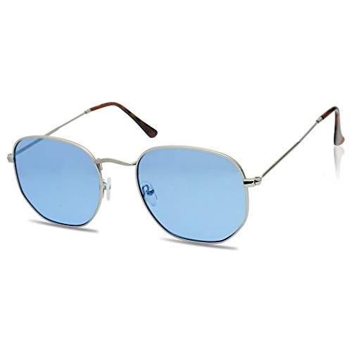 Round Geometric Pantone Colored Tinted Flat Lens Ultra Slim Metal Hexagonal Sun Glasses (Silver, Blue)