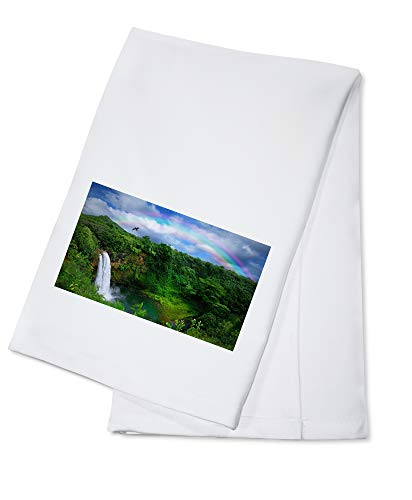 Hawaii - Waterfall in Kauai with Rainbow - Photography A-91936 (100% Cotton Kitchen Towel)