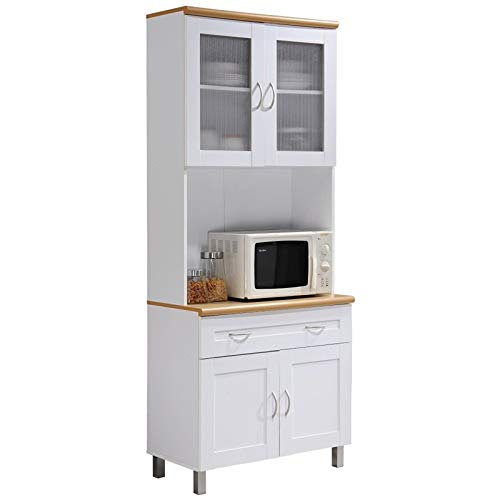 """Pemberly Row Tall 32"""" Wide China Kitchen Cabinet with Microwave Storage in White"""