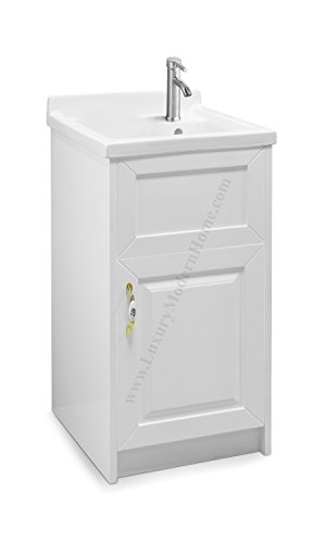 sink ALEXANDER 18'' WHITE Utility Sink - Modern Mop Slop Tub Deep Sink Ceramic Laundry Room Vanity Cabinet Contemporary Hardwood Hard by www.LuxuryModernHome.com