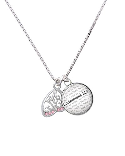 Open Pink Crystal Butterfly Wing - Bible Verse Corinthians 13:4 Glass Dome Necklace