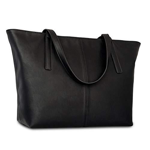 Sac à main fourre-tout marron cuir végétalien Expatrié pour femmes - Sac à main en cuir artificiel haute qualité - Grand sac à bandoulière pour femmes avec compartiments & fermeture éclaire Noir