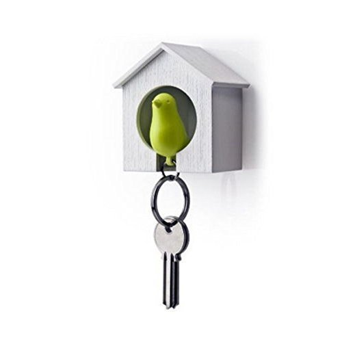 Lyanther Birdhouse Key Ring Hanging Single Bird House Keychain Wall Hook Holders Whistle Key Ring Cohabiting Bird Key Hanging Anti-Lost Device(green)