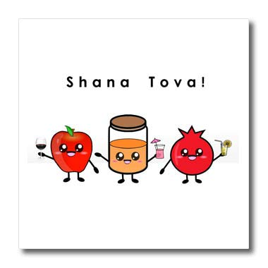 3dRose InspirationzStore - Judaica - Shana Tova - Cute Cartoon Rosh HaShanah Greeting Happy Jewish New Year - 8x8 Iron on Heat Transfer for White Material (ht_318149_1)