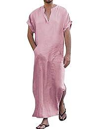 7618bbe149 Men s V-neck Short Sleeve Robe Side Split Kaftan Cotton Long Gown Thobe S-