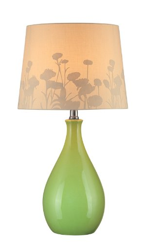 Lite Source LS-21489GRN Table Lamp, Green Ceramic with Silhouette Paper Shade by Lite Source