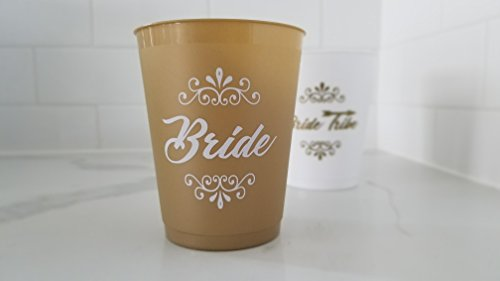 [CBC Brand] Bachelorette Party Cups (set of 12) - White & Gold 16 oz Plastic Cup Set for Weddings, Bridal Showers, Engagement (Bride To Be & Bride Tribe)