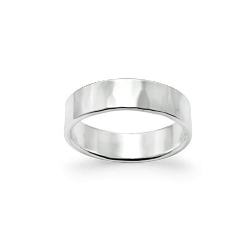 (Hammered Polish Plain Comfort Fit Wedding Band Ring Sterling Silver, Size 8)