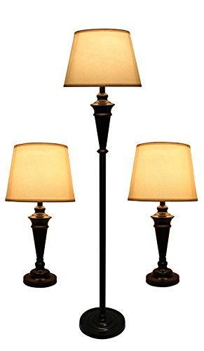 Urbanest Peterson Set of 3 Table and Floor Lamps, Oil-Rubbed Bronze with Cream Linen Shades by Urbanest (Image #1)