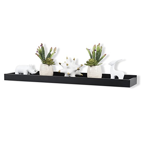 Wallniture Modern Home Decor Floating Picture Ledge Shelf Tray Storage Black 31.50 Inch