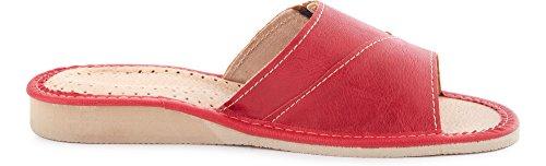 Plates LABR34 Femme Claquettes Été Rouge Pantoufles Chaussures Sandales Mules Ladeheid p5xw8Sq5