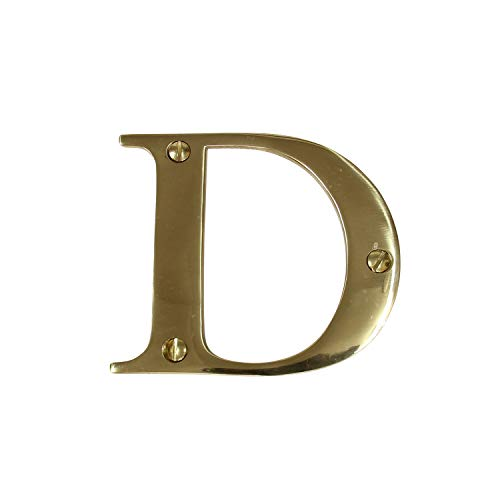 RCH Hardware Solid Brass 3″ Tall House Letter D, Polished Brass Shiny Gold Matching Screws Included