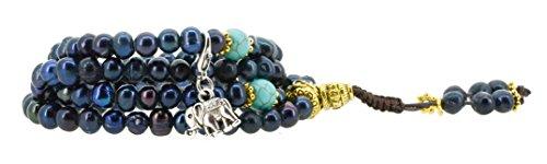 Black Dyed Freshwater Cultured Pearls Yoga Meditation 108 Prayer Beads Mala Wrap Bracelet or Necklace (Elephant)
