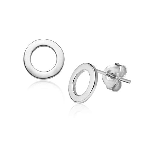 Big Apple Hoops - Genuine 925 Sterling Silver ''Basic and Simple'' Shiny Geometric Stud Earrings Delicate and Unique Design | in 4 Finishes (Silver, Yellow Gold, Rose Gold, Black Rhodium)