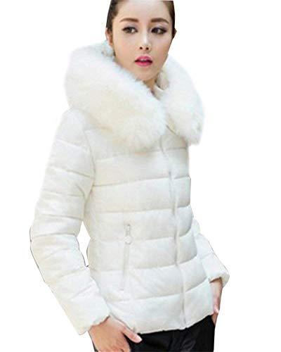 Moda Outerwear Donna White Trapuntata Chic Stile Di Eleganti Cerniera Hot Ragazza Bianca Invernali Transizione Con Cappotto Casual Eleganza Lunghe Maniche Giaccone Giacca Pelliccia vaqHwv