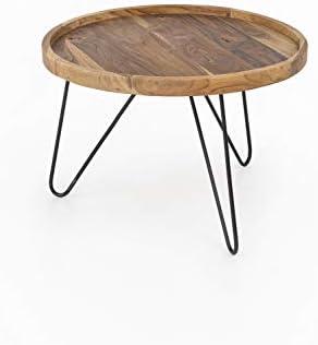 Beste Prijs Intex Living Design Teak salontafel, 65 cm, teakhouten tafel, woonkamertafel, unicum, houten tafel, rond  v4PVXsI