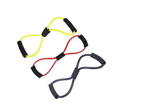 Lightahead Set of 3, Figure 8 Exercise Band Training Resistance Cord Tube Workout Body Building Fitness Equipment Tool for Home, Gym, Yoga, Pilates, Physical Therapy Training (Red,Yellow,Black) ()
