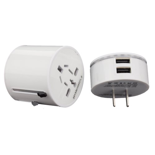 Compact Universal All-In-One International Double USB Travel Power Adapter Plug. USA: Bahamas Brazil China Colombia Costa - Outlet Costa