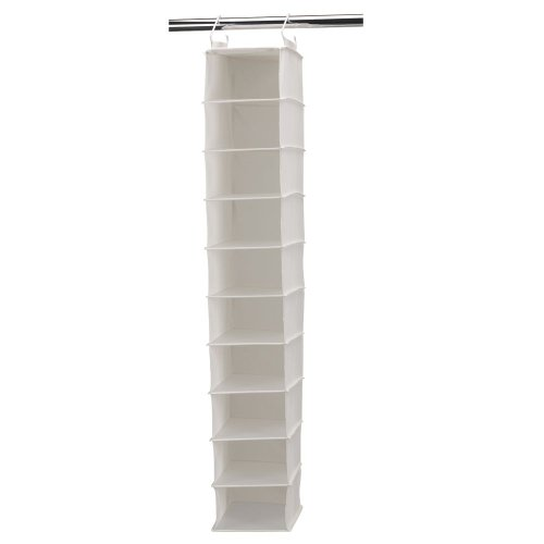 Household Essentials 311328 Hanging Shoe Storage Organizer for Closets |10 Wide Pocket Shelves | Natural - Hanging Organizer Shelf 8