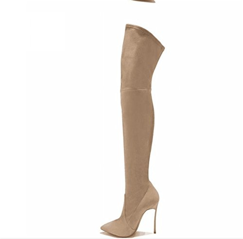 Size Boots 35 Boots Long Suede Knee Heels Shoes 2 Point 43 The Plus Metal Dormery Spring Knee PU Beige Option Women Over Toe New With 0dwRWnq6