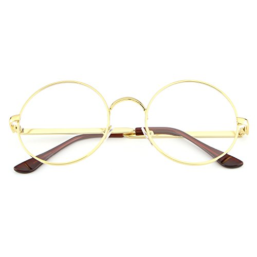 Cute Hippie Halloween Costumes - HDCRAFTER Metal Frame Clear Lens Circle Eyeglasses for Men Women HD2010