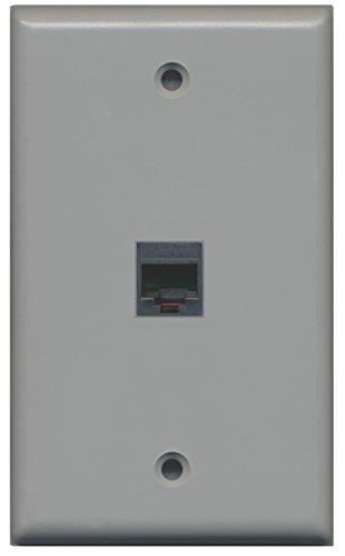 RiteAV Rj11/12 Phone Wall Plate 1 Gang Flat - Gray ()