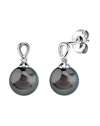 THE PEARL SOURCE 14K Gold 9-10mm Round Genuine Black Tahitian South Sea Cultured Pearl Sherry Earrings for Women