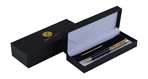 Lady edition ballpoint pen by Ubiquitous with 24k Gold Trim and accompaniment-gift box pen set (Standard, Black)