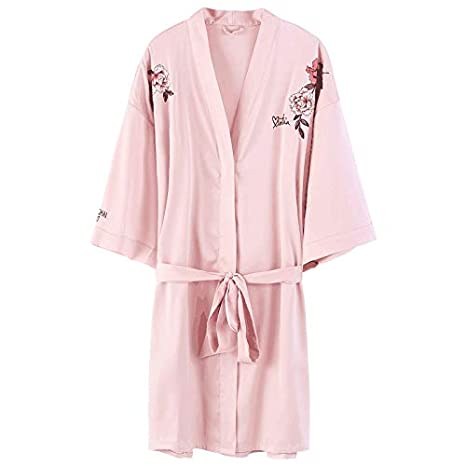 Pretty Silk Satin Effect Pajamas in pink with embroidery