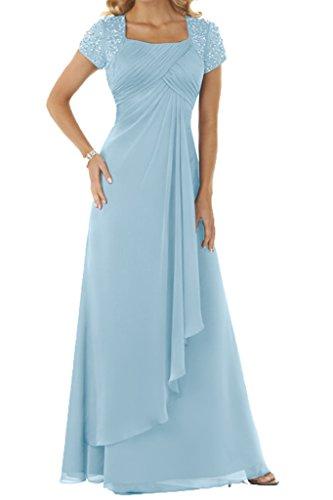 Chiffon Lang Hellblau Kurz Ballkleid Mit Aermel Damen Festkleid Ivydressing Abendkleid Steine Beliebt 0ZqYYnp