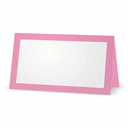 (Pink Place Cards - Flat or Tent Style - 10 or 50 Pack - White Blank Front Solid Color Border Placement Table Name Dinner Seat Stationery Party Supplies Occasion Event Holiday (10, Tent Style) )