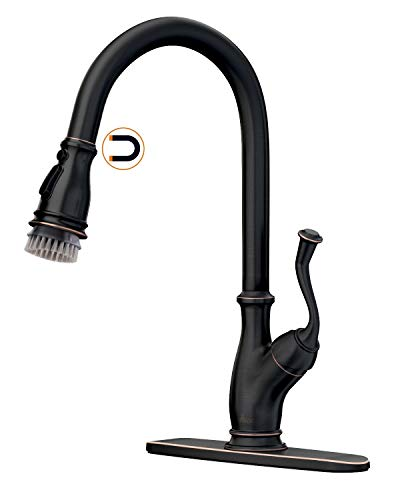 Farmhouse Kitchen APPASO Bronze Pull Down Kitchen Faucet with Magnetic Docking Sprayer – Single Handle Antique One Hole High Arc Pull Out… farmhouse sink faucets