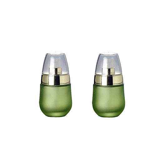 2PCS 30ML 1OZ Green Empty Frosted Glass Lotion Bottle Egg Shaped Pressing Jar Refillable Durable Cosmetic Container Holder for Travel Vacation Camping Daily Life