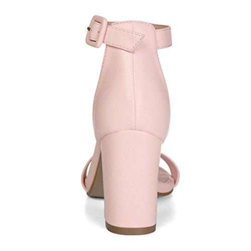 Allegra K Donna Sandalo Con Cinturino Alla Caviglia E Tacco Alto Rosa Chiaro