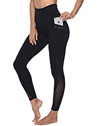 Women's Mesh Yoga Pants with 2 Pockets, Non See-Through High Waist Tummy Control 4 Way Stretch Leggings
