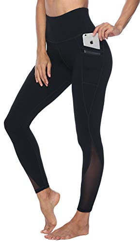 Persit Yoga Pants for Women with Pockets High Waisted Black Mesh Workout Leggings Athletic Gym Fabletics Soft Yoga Leggings - Black - S